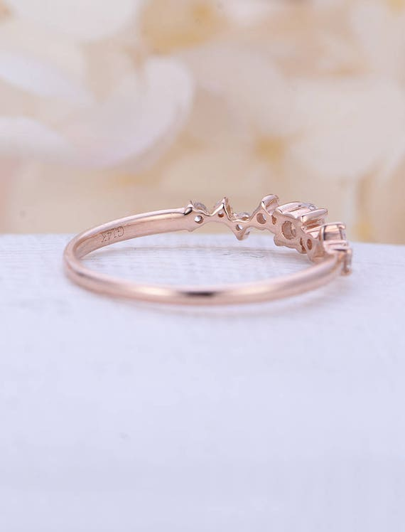 Diamond Cluster ring Twig engagement Ring Rose Gold Mini
