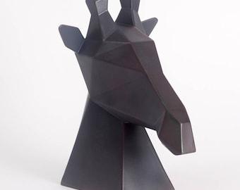 Gerard the Giraffe | Charcoal Ceramic, Black, Modern Sculpture, Animal Head, Ceramic Giraffe Statue, African Art, Animal Trophy