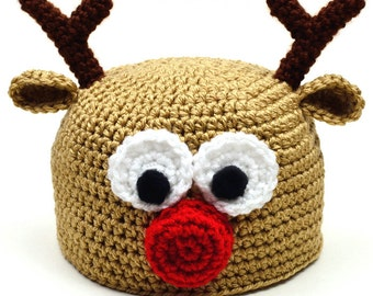 Reindeer Hat - 5 Sizes - PDF Crochet Pattern - Instant Download