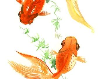 Artwork Two Goldfish wall art, Koi fish art, original watercilor asian style painting, feng shui art, Asian art, bathroom art, orange
