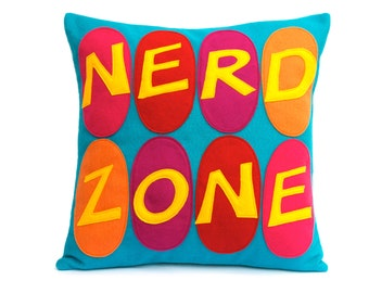 Nerd Zone- Appliqued Eco-Felt Pillow Cover in gold, orange, pink, red, fuchsia, and peacock - 18 inches