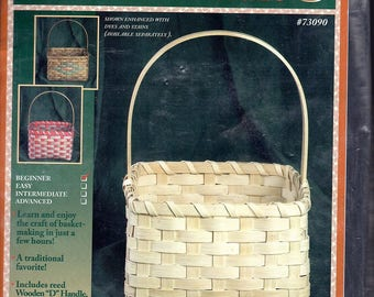 """Square Basket Kit with """"D"""" Shaped Handle, Reed, Instructions, Sealed Plastic Bag Packaging.  Finished Size: 12"""" high, 8"""" square."""