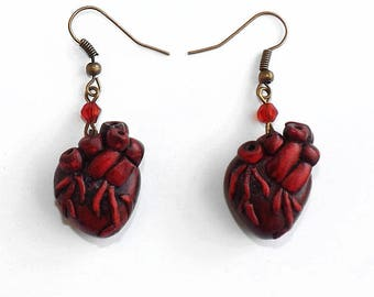 Bronze Heart anatomical Steampunk earrings