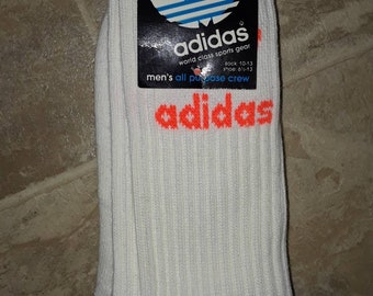 Super Rare Vintage Adidas men's crew socks DeadStock with tag 10-13