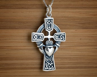 Celtic cross pendant etsy sterling silver irish celtic cross with claddagh heart pendant necklace chain optional aloadofball Images
