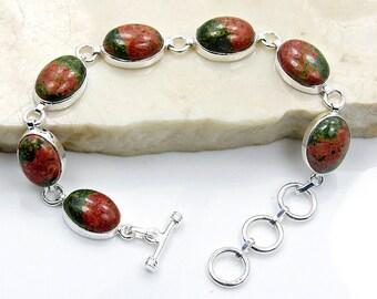 Unakite Bracelet Sterling Silver Bracelet Z204 The Silver Plaza