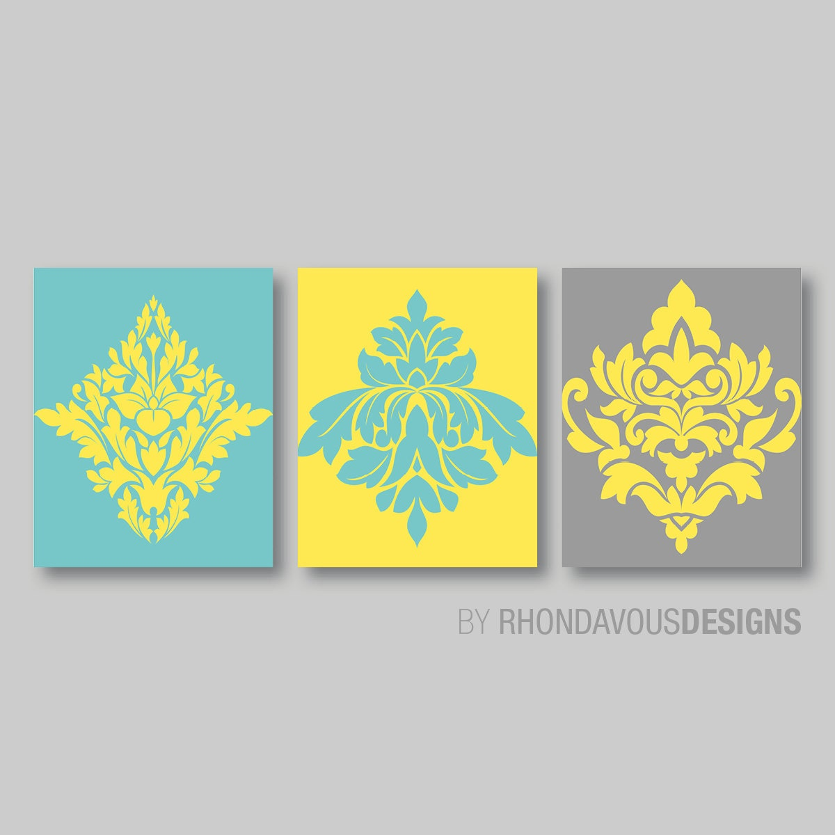 Teal Blue Yellow Gray French Damask Print Trio Home
