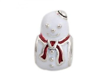 1 Snowman Christmas Silver Charm Enamel Beads Fits European Style Charm Bracelet-7J