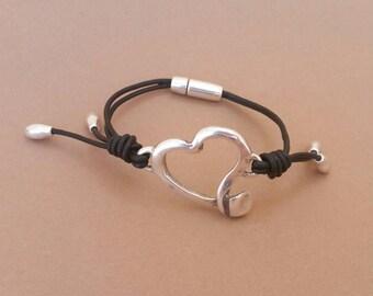 Heart bracelet, black leather hearts bracelet, black and heart leather bracelet, black leather heart bracelet