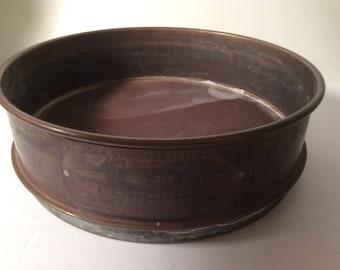 """Vintage Fisher Scientific Brass Sieve -very fine grain #200 -  8"""" round"""