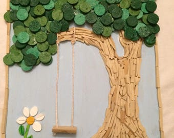 Cork art tree with swing and cardinal painted