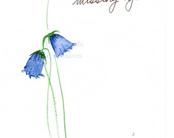 Handpainted Greeting Card, Blue bells, Original Watercolor Art, Mother's Day, missing you, Two blue flowers