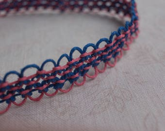 16 inch pink and blue hemp necklace