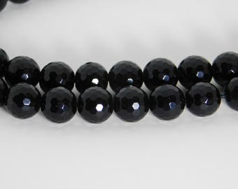 Black Onyx natural faceted round beads - 10mm - STK-05-BOB-03