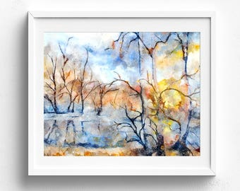 Nature art, nature art print, nature home decor, navy blue wall art, decorative wall art watercolor art print landscape art watercolor print