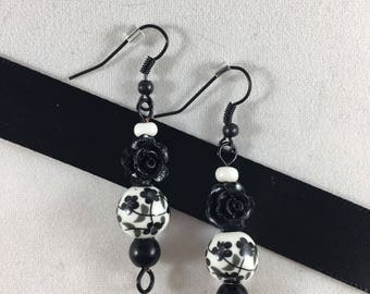 Black and White Rose Drop Earrings