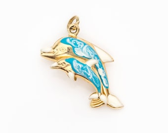Gold dolphin pendant etsy dolphin pendant charm blue enamel 14k yellow gold vj 295a aloadofball Gallery