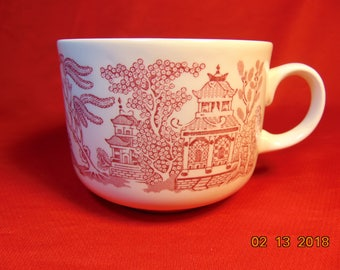 "One (1), 3"", 4 1/8"" Breadfast Cup, from Churchill China of England, in the Willow Rosa Pink Pattern."