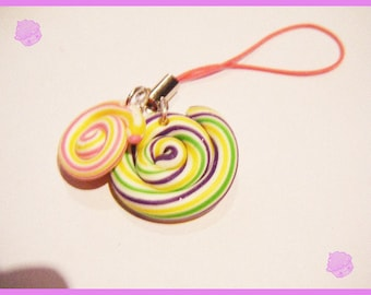 Phone charm strap phone iphone lollipop multicolor fimo polymer clay multicolor candy treats