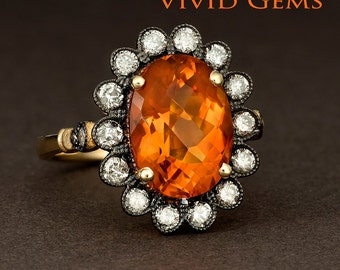 Oval Cut Madeira Citrine Flower Ring in 14k Yellow Gold