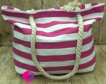 Personalized Pink Stripe Canvas Beach Tote - Pink Stripe Canvas Tote - Pink Stripe Rope Handle Beach Bag - Monogrammed Pink Stripe Tote