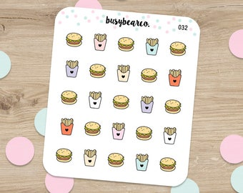 Fast Food Stickers, Cheat Day Stickers, French Fries, Hamburger, Burger, Cheat Day, Food Stickers, Planner Stickers, Erin Condren (032)