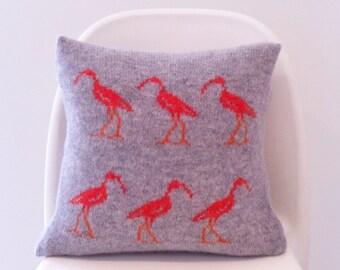 knitted bird cushion, scarlet ibis cushion, lambswool knitted cushion, gift for bird lover, bird enthusiast, lambswool knitted bird cushion