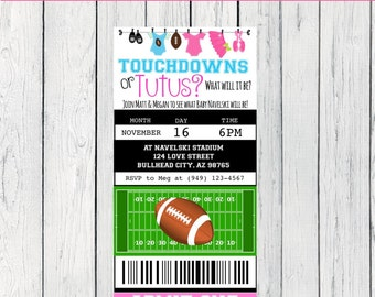 Gender Reveal Touchdown or Tutu Football ticket invitation- ***Digital File**(Baby-footballticket)