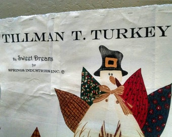 Tillman T. Turkey vintage fabric panel