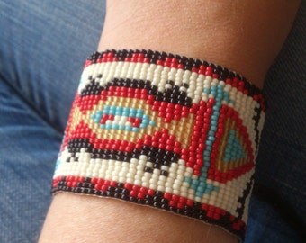 Loom beaded bracelet (Native American inspired) with waxed cord /