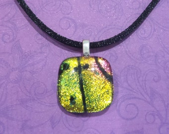 Pink and Yellow Dichroic Necklace, Small Fused Glass Pendant, Sparkly Dichroic Jewelry, Gifts Under 20, Ready to Ship - Wynn -6