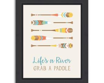 Nautical Decor, Paddle Decor, Beach Decor, Nautical Art, Nautical Wall Decor, Nautical Decor Bathroom, Nautical Print, Grab a Paddle
