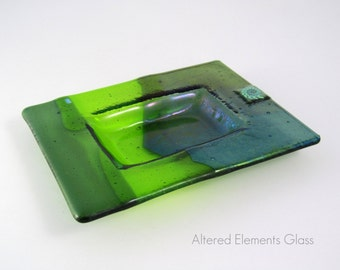 Green Fused Glass Dish - Chartreuse and Olive Green - Iridized Fused Glass with Dichroic Accents - Trinket Dish - Soap Dish - Candle Dish