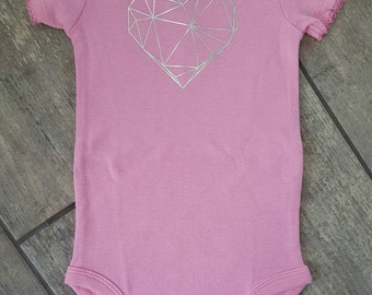 SALE - Reg. 18 dollars - Geometric heart - baby girl bodysuit - ONE OF A Kind - baby accessories - size 3-6 months