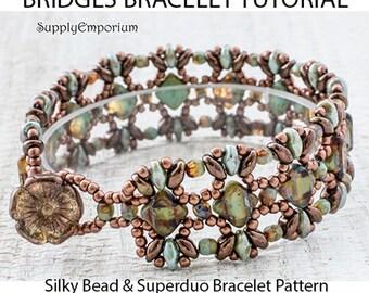 Bridges Bracelet Tutorial, Pattern for Bridges Bracelet by Claire Lee, Silky Bead & SuperDuo Bracelet Tutorial, Bonus Mini Bridges Tutorial