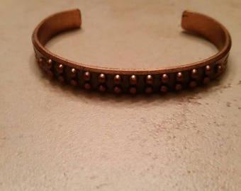 Vintage Copper Bracelet Southwestern Cuff Pebbled