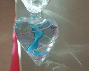 Blue and Pink Swirl Glass Heart