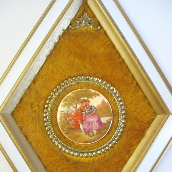 2 Vintage Gold Mirror Frames Fragonard Cameo Courtship