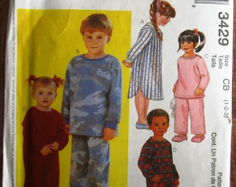 Toddlers Pajamas: Jumpsuit, Nightshirt, Pajama Top and Pull-on Pants Sizes 1 2 3 McCalls Pattern 3429 UNCUT