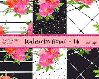 Watercolor floral digital papers - Digital Scrapbook Paper, Romantic  flowers, Watercolor flowers, Floral Patterns, Digital Scrapbooking