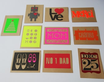 10 Assorted Special Occasion Note Cards Colorful Themes on a Kraft Card w/envelopes