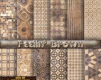 brown digital paper, brown scrapbook paper, brown background, digital download, commercial use