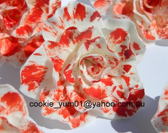 6 edible LARGE PAINTED ROSES 7cm alice in wonderland cupcake cake topper decorations flower blood wedding anniversary birthday engagement