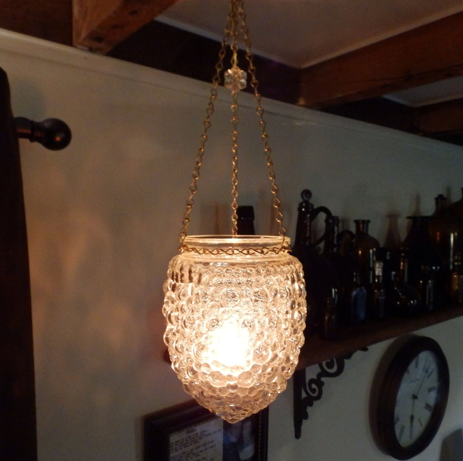 Vintage Glass Hanging Candle Holder Candelier bubble glass