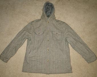 VINTAGE WOOLRICH reversible wool & nylon JACKET Hooded Parka Sz .M