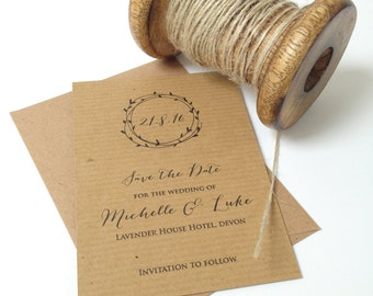 Rustic Save The Date Cards, Wedding Save The Date, Laurel Wreath Save The Day
