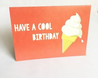 Birthday Card | Happy Birthday Card | Card for her | Card for friend | Card for Child | Card for him | Greeting Card | Ice cream | Summer