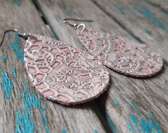 Pink Leather Earrings- Textured Lacy/Soft Pink Leather Teardrop Earrings