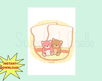 Printable Die Cuts - Cute Sleepy Teddies Die Cuts - Note Card - Message Card - To Do List - Teddy Bears with Pillows - Planner Accessory