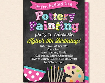 Pottery Painting Invitation - Pottery Painting Invite - Pottery Painting Party - Chalkboard - Printable, Instant Download, Editable, PDF